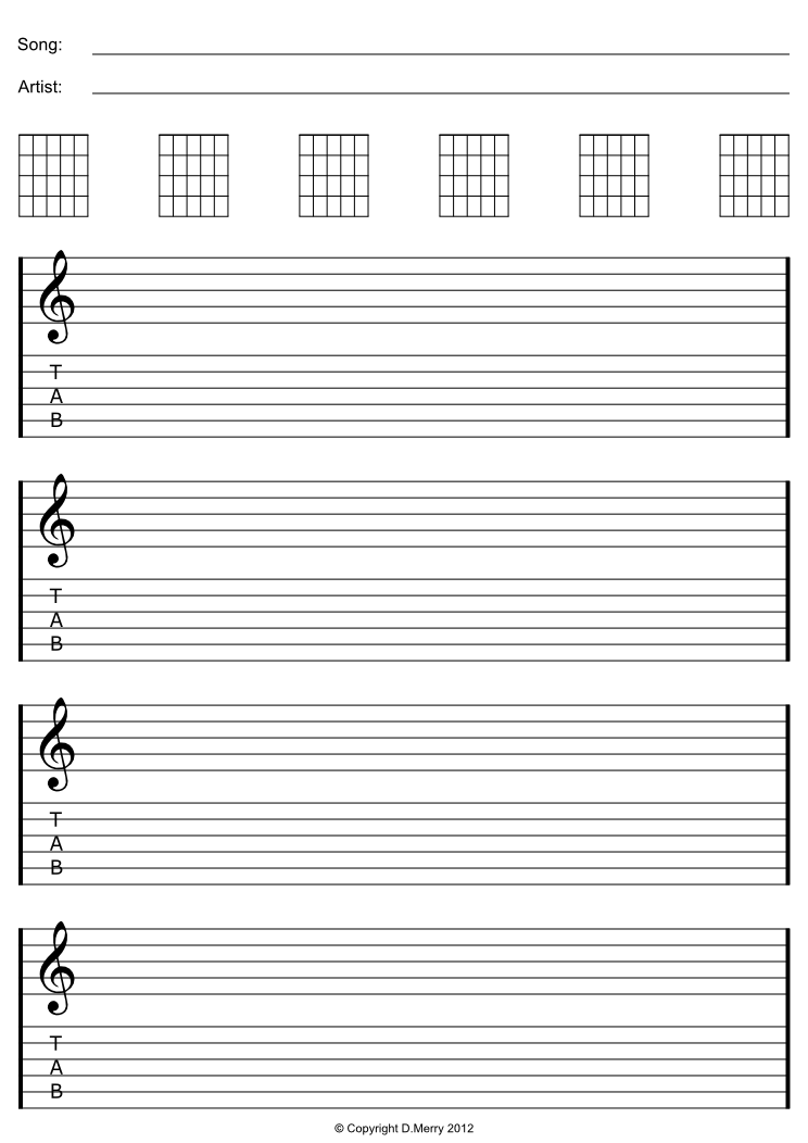 Blank Guitar Sheet Music with Staff and Tab Lines , 100 Pages of Blank ...